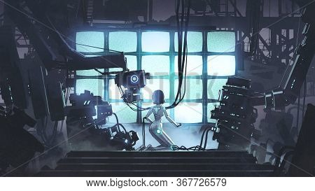 Restore The Power To The Last One. Female Robot Repairing Itself In The Factory, Digital Art Style,