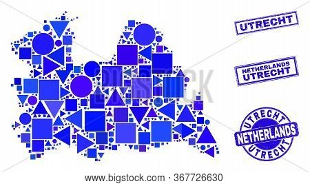 Vector Mosaic Utrecht Province Map. Geographic Collage In Blue Color Hues, And Scratched Round And R