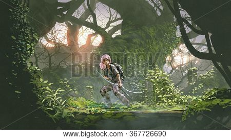 Adventure Girl Holding A Bow In The Forest, Digital Art Style, Illustration Painting