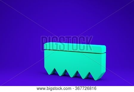 Green Sponge With Bubbles Icon Isolated On Blue Background. Wisp Of Bast For Washing Dishes. Cleanin