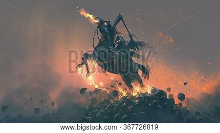 The Horseman, Grim Reaper Riding The Horse Jumping  From A Pile Of Human Skulls, Digital Art Style,