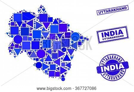Vector Mosaic Uttarakhand State Map. Geographic Collage In Blue Color Tinges, And Textured Round And
