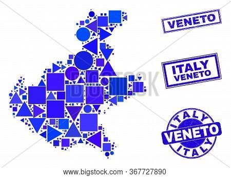 Vector Mosaic Veneto Region Map. Geographic Collage In Blue Color Tinges, And Dirty Round And Rectan