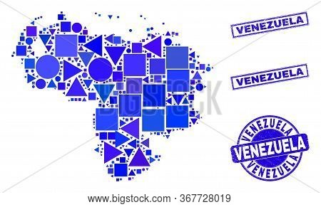 Vector Mosaic Venezuela Map. Geographic Plan In Blue Color Hues, And Scratched Round And Rectangle S