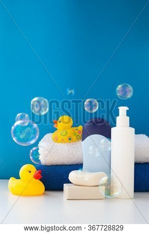 Baby Bath Products, Baby Care, Yellow Rubber Duck For Bath Games. Soap Bubbles, Bath Foam, Soap Bubb