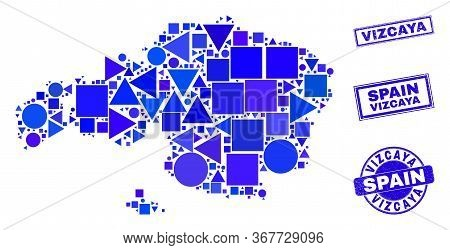 Vector Mosaic Vizcaya Province Map. Geographic Scheme In Blue Color Shades, And Scratched Round And