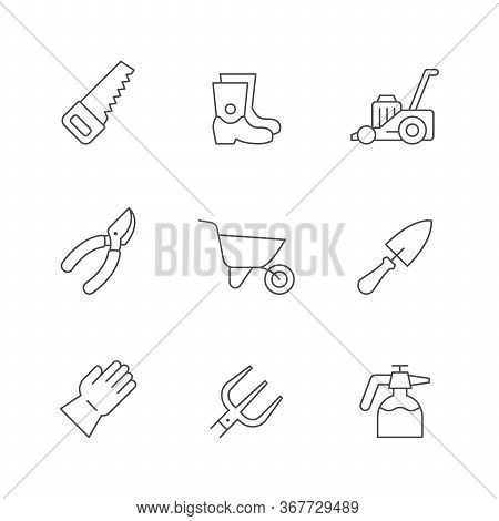 Set Line Icons Of Gardening Isolated On White. Hand Saw, Rubber Boot, Lawn Mower, Pruner, Wheelbarro