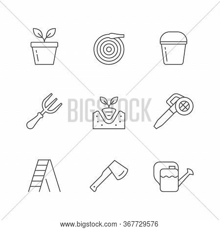 Set Line Icons Of Gardening Isolated On White. Seedlings Pot, Water Hose, Bucket, Fork, Leaf Blower,