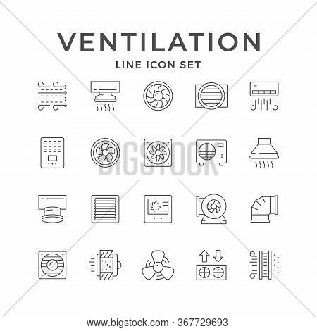 Set Line Icons Of Ventilation Isolated On White. Conditioner, Airflow, Electric Fan, Cooker Hood, Ve