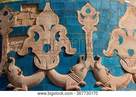 Close Up Of Bas Relief Etching On Wall At Gwalior Fort In Gwalior, Madhya Pradesh, India, Asia