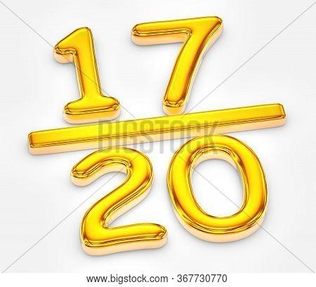 Golden Score Of Seventeen Out Of Twenty, 3d Illustration