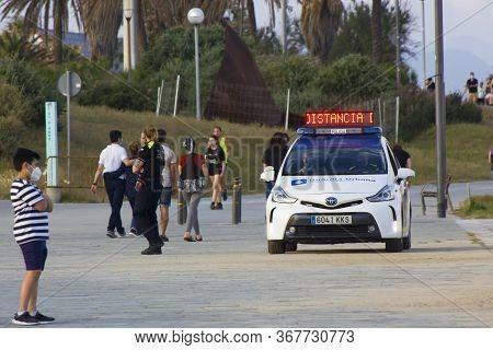Barcelona, Spain - May 23, 2020: Barcelona Beach Police Car. Covid 19 Coronaviruse Disease. Barcelon