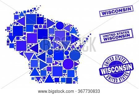 Vector Mosaic Wisconsin State Map. Geographic Collage In Blue Color Tones, And Corroded Round And Re