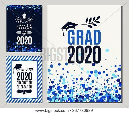 Grad 2020 Greeting Cards Set In Blue Colors. Three Vector Graduate Party Invitations. All Isolated A