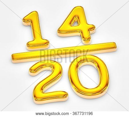 Golden Score Of Fourteen Out Of Twenty, 3d Illustration