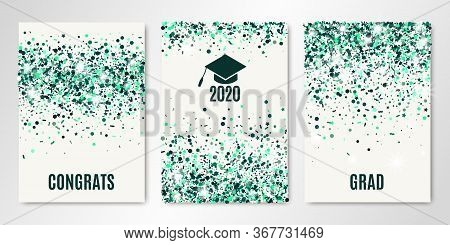 Class Of Grad 2020 Greeting Cards. Banners Set With Emerald Confetti On White. Vector Flyer Design T