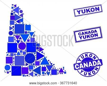 Vector Mosaic Yukon Province Map. Geographic Plan In Blue Color Shades, And Scratched Round And Rect