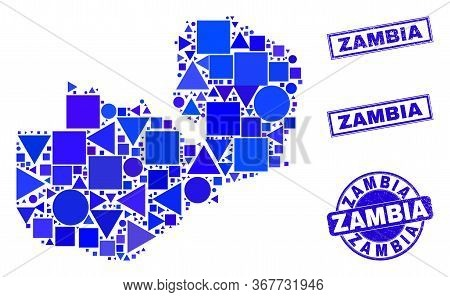Vector Mosaic Zambia Map. Geographic Scheme In Blue Color Tones, And Grunge Round And Rectangle Stam