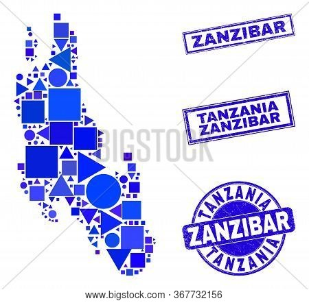 Vector Mosaic Zanzibar Island Map. Geographic Scheme In Blue Color Tinges, And Dirty Round And Recta