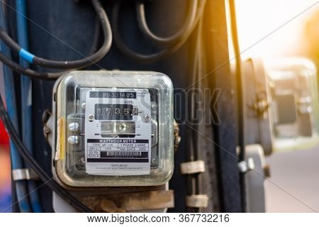 Old Watthour Meter Of Electricity For Use In Home Appliance With Copy Space.electric Power Meter Mea