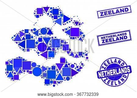 Vector Mosaic Zeeland Province Map. Geographic Collage In Blue Color Tints, And Scratched Round And