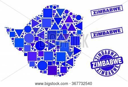 Vector Mosaic Zimbabwe Map. Geographic Collage In Blue Color Tints, And Grunge Round And Rectangle S