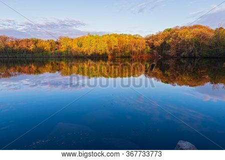Marthaler Park Woodland Reflected In Pond During Colorful Spring Season Sunrise In West Saint Paul M