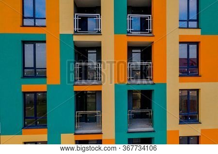 Detail Facade With Windows. Simple High-rise Residential Typical Building