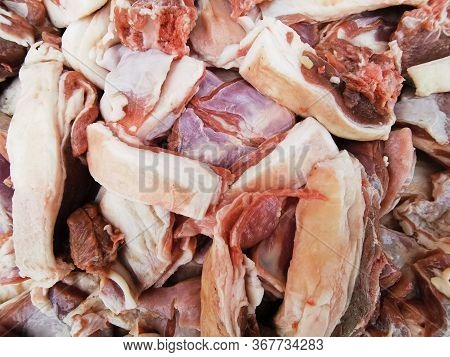 Chunks Of Raw Meat Sliced And Stacked Before Cooking Close Up