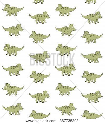Vector Seamless Pattern Of Hand Drawn Doodle Sketch Green Triceratops Dinosaur Isolated On White Bac