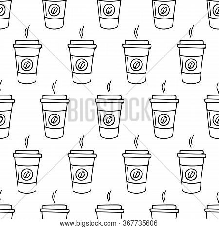 Paper Cup Of Coffee Hand-drawn. Vector Seamless Doodle Pattern On White Background. Design For Texti
