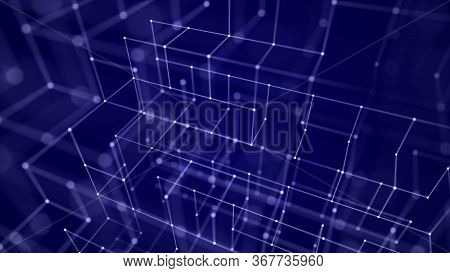 Block Chain Technology Concept. 3d Rendering. Network Connection Structure.