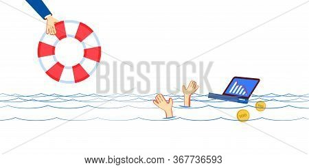 Global Finance Crisis Drowns Unfortunate Manager. Businessman Drowning, Ask To Help, Hopes To Suppor