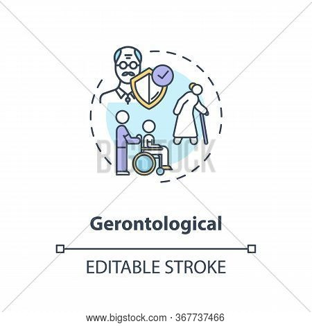 Gerontology Concept Icon. Community Service Idea Thin Line Illustration. Aged People Care And Securi