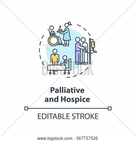 Palliative And Concept Icon. Patient With Chronical Illness Caregiving Service Idea Thin Line Illust