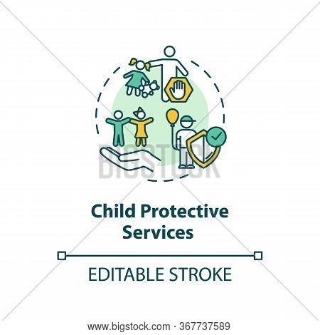 Child Protective Service Concept Icon. Kids Abuse And Neglect Prevention. Childcare Idea Thin Line I