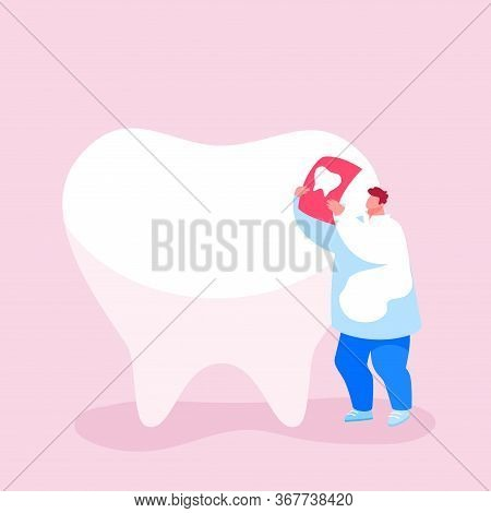 Tiny Dentist Doctor Character Care Of Huge Tooth Examine Xray Image. Stomatology Clinic Service, Den