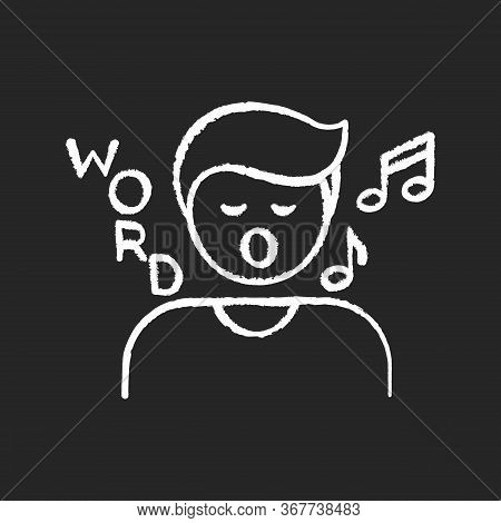 Song Game Chalk White Icon On Black Background. Fun Board Game, Musical Entertainment. Recreational