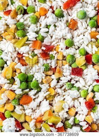 Frozen Vegetables Assorted, Close Up View. Assorted Frozen Vegetables Food With Ice, Top View Or Fla