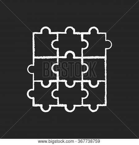 Jigsaw Puzzle Chalk White Icon On Black Background. Traditional Intellectual Pastime, Educational Le
