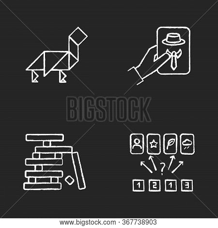 Tabletop Games Chalk White Icons Set On Black Background. Different Recreational Activities, Enterta