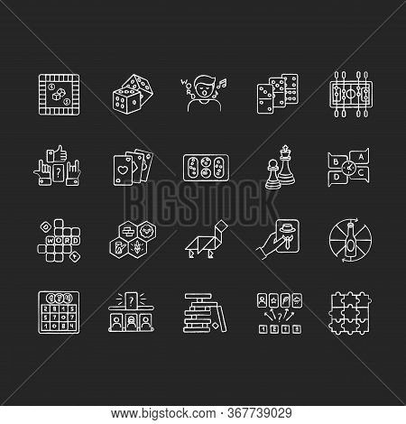 Table Games Chalk White Icons Set On Black Background. Amusing And Educational Games, Entertaining P