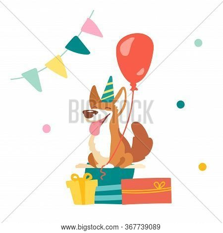Kawaii Corgi Dog Celebrate Birthday In Room Decorated With Flag Garland And Confetti. Cute Funny Pet