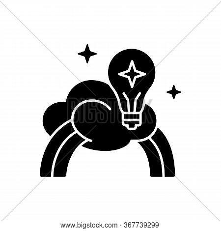 Inspiration Black Glyph Icon. Creative Mind. Motivation For Curiosity. Imagination Of Artist. Genius