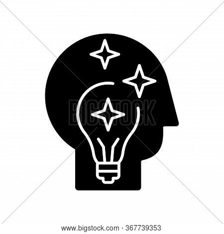 Idea Generation Black Glyph Icon. Insight While Brainstorming. Human Head With Innovative Thought. I