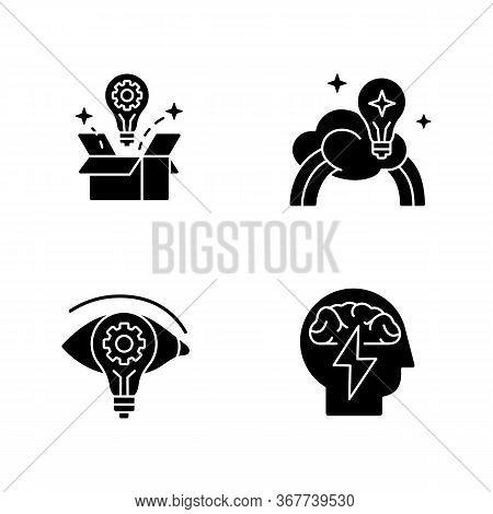 Creative Mindset Black Glyph Icons Set On White Space. Imagination Of Creative Artist. New Vision, I