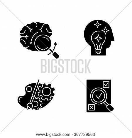 Logical Mind Black Glyph Icons Set On White Space. Brainstorming For Project. Idea Generation. Analy