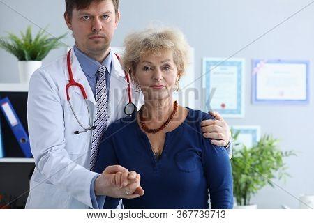 Doctor Helps Elderly Woman To Resist During Illness. Social Isolation Elderly. Understanding Mental