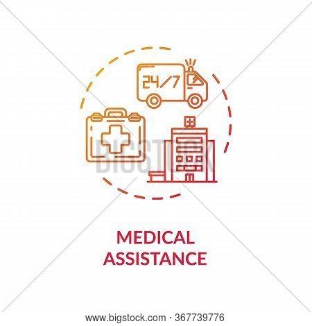 Medical Assistance Concept Icon. Emergency Service. Ambulance Car. 24 Hours Doctor Support. Paramedi