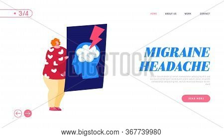 Vessel Rupture, Migraine Landing Page Template. Tiny Female Character Holding Xray Of Human Head Wit